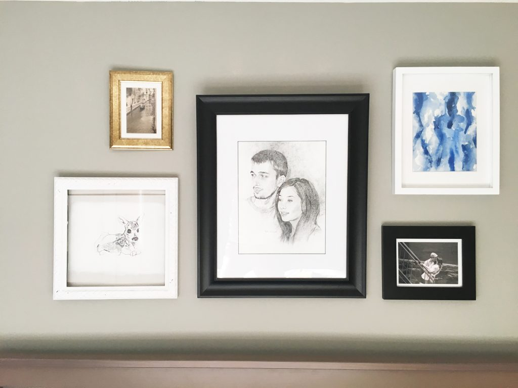 wall grouping with portrait