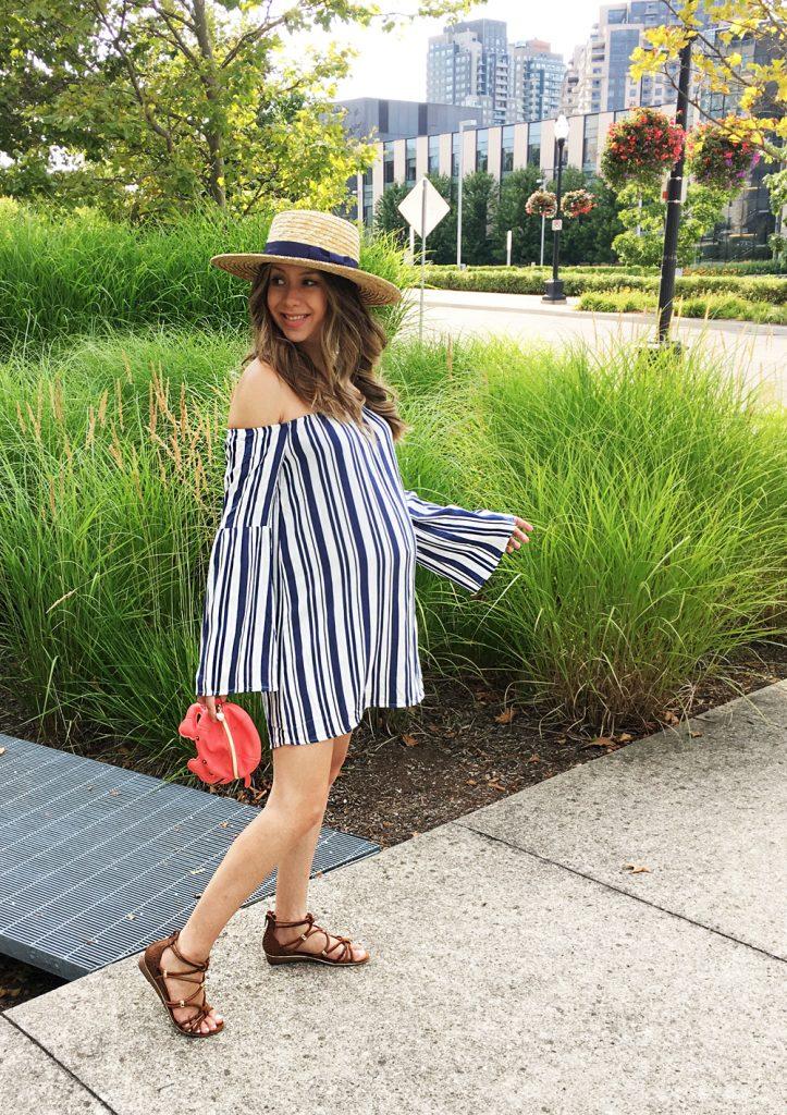 Tobi Stripes Off The Shoulder Dress