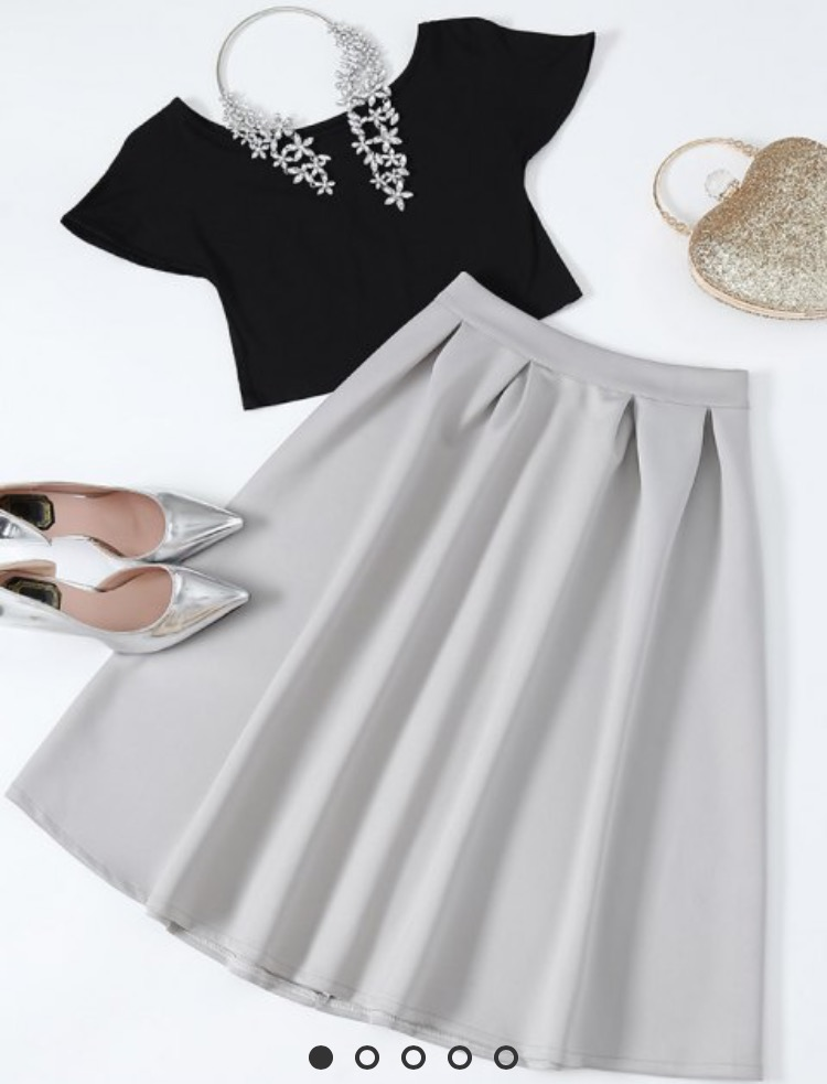 Zaful Black and Grey Midi